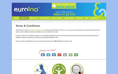 Screenshot of Terms Page euroloo.com - Portable Toilet Hire cost less with Euro Loo read our T&C's here now - captured Nov. 2, 2014