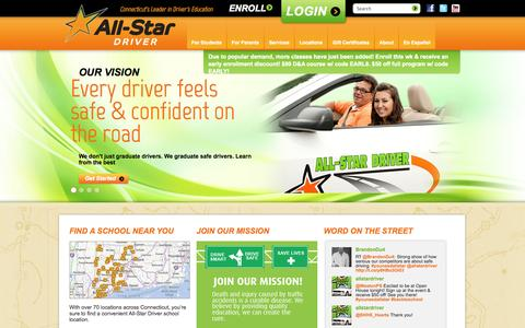 Screenshot of Home Page all-stardriver.com - Driving Schools in CT | All-Star Driver Education | Drivers Ed - captured Sept. 30, 2014