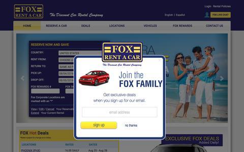 Screenshot of Home Page foxrentacar.com - Cheap Rental Cars and Car Rental Deals Worldwide - Fox Rent A Car - captured Aug. 4, 2016