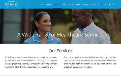 Screenshot of Services Page inhealthgroup.com - InHealth Services - A Wide Range of Healthcare Services - captured Sept. 21, 2018