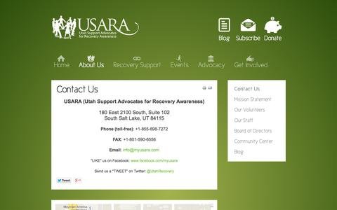 Screenshot of Contact Page myusara.com - Contact Us - myUSARA.com - Utah Support Advocates for Recovery Awareness - captured Nov. 2, 2014