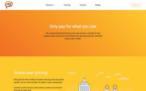 Screenshot of Pricing Page clui.com - Pricing | Clui – Learning Management System (LMS) - captured Sept. 25, 2018