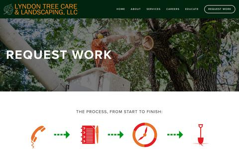 Screenshot of Contact Page lyndontreecare.com - Request Work | Lyndon Tree Care & Landscaping, LLC - captured Sept. 30, 2018