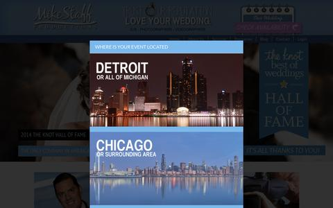Screenshot of Home Page mikestaff.com - Wedding DJ, Wedding Photography, and Wedding Videography in Michigan and Chicago - captured Aug. 17, 2015