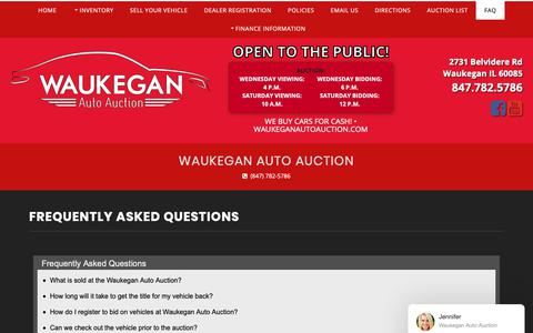 Screenshot of FAQ Page waukeganautoauction.com - FAQs - Waukegan Auto Auction in Waukegan, IL - captured Dec. 14, 2018