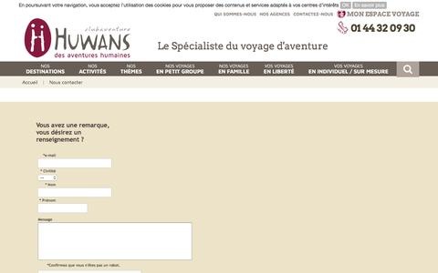 Screenshot of Contact Page huwans-clubaventure.fr - Contactez Huwans clubaventure - captured May 24, 2017