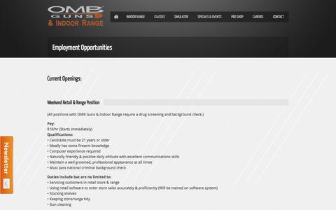 Screenshot of Jobs Page ombrange.com - Employment Opportunities | OMB Guns & Indoor Range - captured Oct. 7, 2014