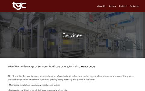 Screenshot of Services Page tgcmech.co.uk - Services – TGC Mechanical Services | Liverpool - captured Nov. 2, 2017