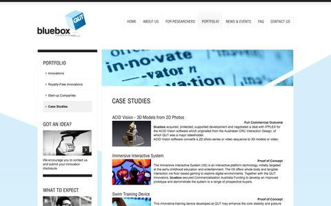 Screenshot of Case Studies Page qutbluebox.com.au - Case Studies | bluebox - Innovations for the Real World - captured Sept. 30, 2014