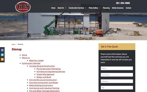 Screenshot of Site Map Page kcsinc.net - Sitemap | KCS Construction - captured Oct. 17, 2017
