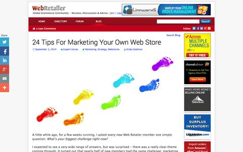 Screenshot of Blog webretailer.com - Lean Commerce - Web Retailer's Ecommerce Philosophy - captured Sept. 30, 2014