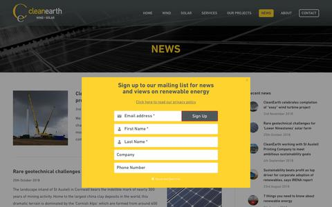 Screenshot of Press Page cleanearthenergy.com - News | CleanEarth Energy - captured Nov. 20, 2018