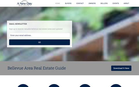 Screenshot of Home Page anewdayrealestate.com - A New Day Real Estate Bellevue Dream Homes, Bellevue Real Estate Guide, Eastside Properties — Bellevue Area Real Estate Guide - captured Sept. 29, 2014