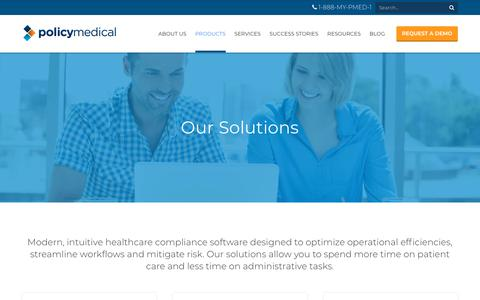 Screenshot of Products Page policymedical.com - Policy Management Software For Healthcare Providers | PolicyMedical - captured June 2, 2018