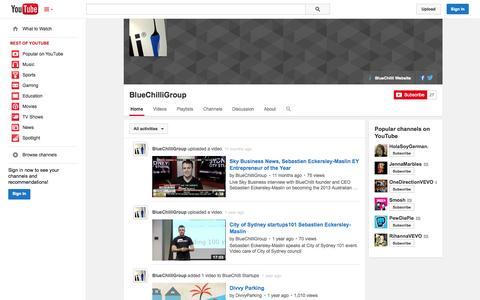 Screenshot of YouTube Page youtube.com - BlueChilliGroup  - YouTube - captured Oct. 22, 2014