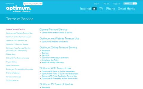 Screenshot of Terms Page optimum.net - Optimum Terms of Service - captured March 1, 2018