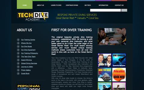 Screenshot of About Page tech-dive-academy.com - About Us - Tech Dive Academy - Bespoke Scuba Diver Training - Port Douglas - - captured Oct. 7, 2014
