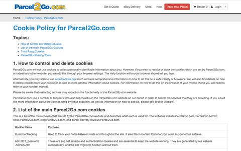 Cookie Policy | Parcel2Go.com