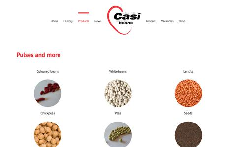 Screenshot of Products Page casibeans.com - Products - Casibeans - captured July 16, 2018