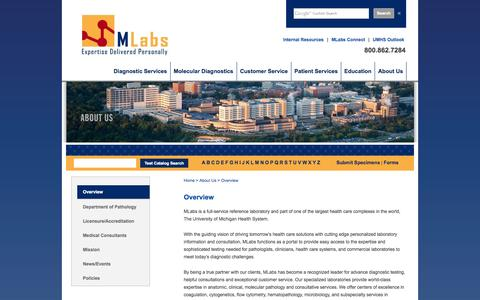 Screenshot of About Page umich.edu - MLabs :: Overview - captured Sept. 17, 2014