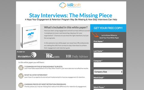 Screenshot of Landing Page hrsoft.com - Improve Employee Engagement & Retention with Stay Interviews - captured March 1, 2018