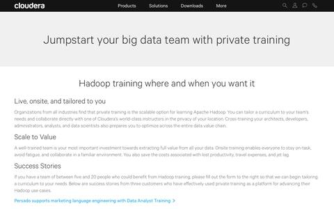 Private Hadoop training wherever and whenever you want.