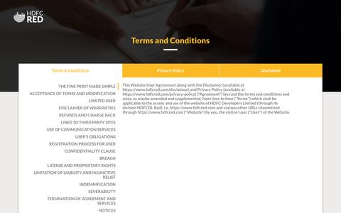Screenshot of Terms Page hdfcred.com - Residential Property in India | Property for Sale in India – HDFC RED - captured July 10, 2016