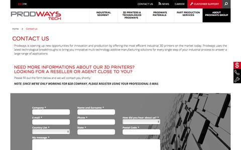 Screenshot of Contact Page prodways.com - Contact us - Prodways 3D printers & materials | Prodways Industrial 3D printers - captured Feb. 24, 2020