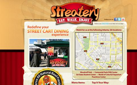 Screenshot of Home Page streatery.com - Streatery - Jumbo All beef, Veggie Dogs, Chili Dogs, Turkey Dogs - captured Oct. 4, 2014