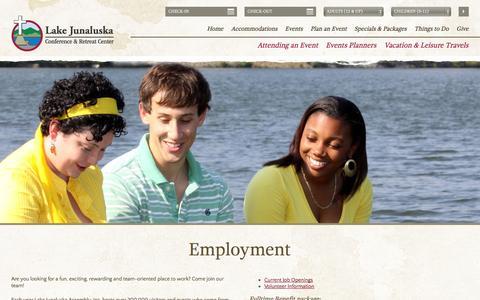 Screenshot of Jobs Page lakejunaluska.com - Careers - captured Sept. 19, 2014