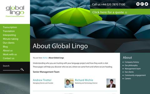 Screenshot of About Page global-lingo.com - Learn about Global Lingo | Global Lingo - captured Sept. 23, 2014