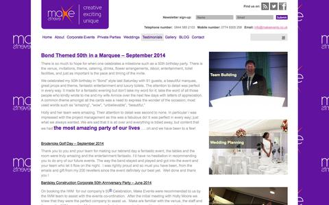 Screenshot of Testimonials Page makeevents.co.uk - Professional, established events management and private party planning company in Wilmslow Cheshire | Make Events - captured Oct. 3, 2014