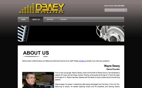 Screenshot of About Page deweysound.com - ABOUT US - Dewey Sound - captured Sept. 30, 2014