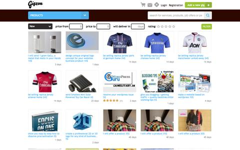Screenshot of Products Page gigzon.com - Products gigs | gigzon.com - captured Aug. 11, 2015