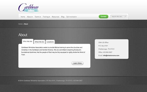 Screenshot of About Page missioncma.com - About | Caribbean Ministries Association - captured Oct. 1, 2014