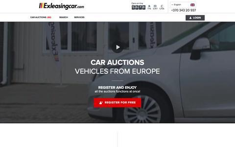 Screenshot of Home Page exleasingcar.com - Car auctions   Exleasingcar.com   Auto from Europe - captured July 10, 2016