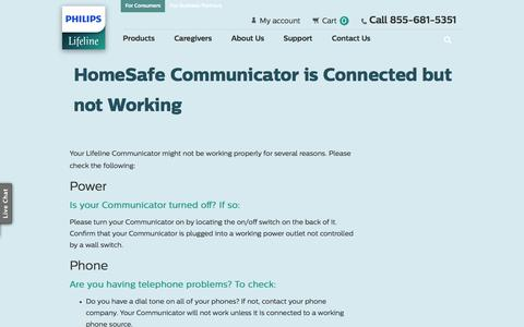 Screenshot of Support Page philips.com - Troubleshooting HomeSafe Connections | Philips Lifeline® - captured Jan. 25, 2017