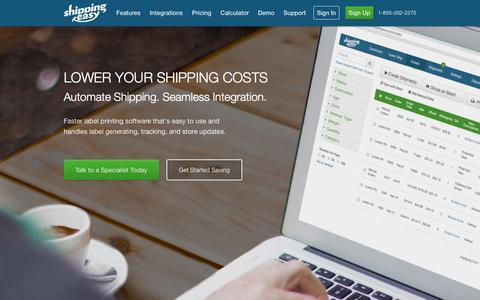 Screenshot of Home Page shippingeasy.com - Shipping App w/ Discounted Shipping Rates - ShippingEasy - captured Sept. 17, 2014