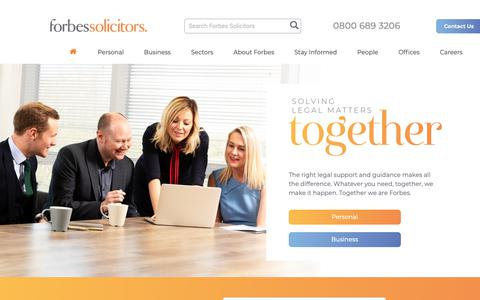 Screenshot of Home Page forbessolicitors.co.uk - Forbes Solicitors | Family, Probate, Personal Injury Law - captured May 2, 2019