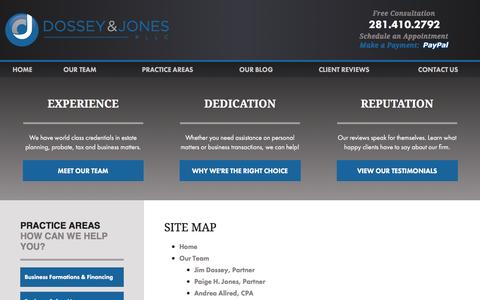 Screenshot of Site Map Page dossey.com - Site Map   Montgomery County Lawyer - captured Feb. 9, 2016
