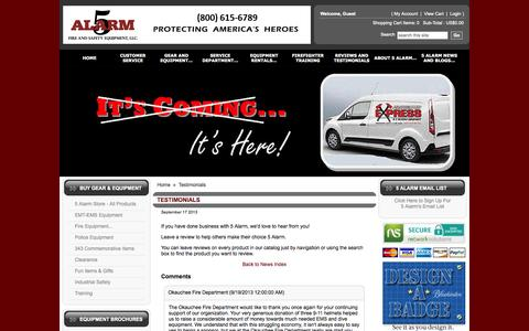 Screenshot of Testimonials Page 5alarm.com - Fire Equipment - Testimonials - captured Oct. 7, 2014