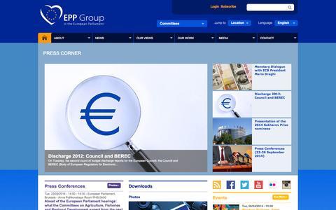 Screenshot of Press Page eppgroup.eu - press | Press Corner | EPP Group in the European Parliament - captured Sept. 19, 2014