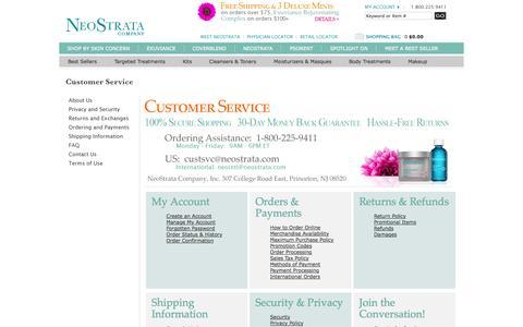 Screenshot of Support Page neostrata.com - Customer Service                                           - NeoStrata - captured Sept. 23, 2014