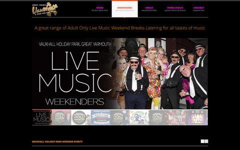 Screenshot of Home Page vhpweekenders.co.uk - Adult Weekends | Party Breaks | Weekends Away | Vauxhall  Music Weekenders - captured Sept. 11, 2015