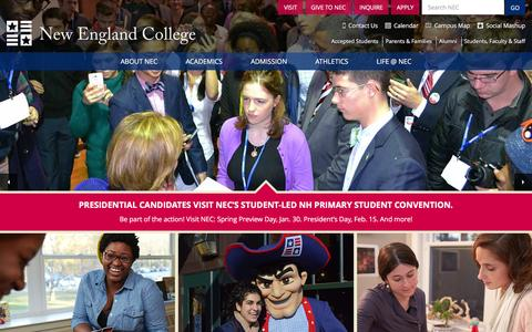 Screenshot of Home Page nec.edu - New England College - You Belong Here - captured Jan. 15, 2016