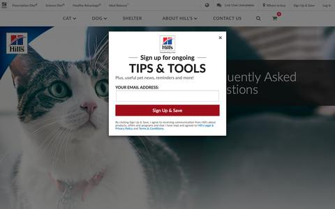 Screenshot of FAQ Page hillspet.com - Frequently Asked Questions - Answers for Your Pet | Hill's Pet - captured Jan. 11, 2019