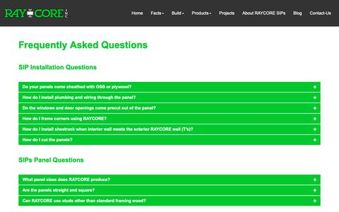 Screenshot of FAQ Page raycore.com - SIP Panel Frequently Asked Questions | RAYCORE SIPs | RAY-CORE SIPs ™ - captured Oct. 18, 2018
