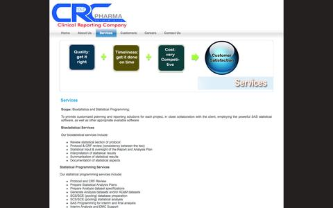 Screenshot of Services Page crcpharma.com - Clinical Reporting Company, CRC Pharma - captured Oct. 1, 2014