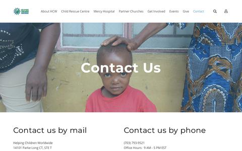Screenshot of Contact Page helpingchildrenworldwide.org - Contact Us! - Helping Children Worldwide - captured July 18, 2018
