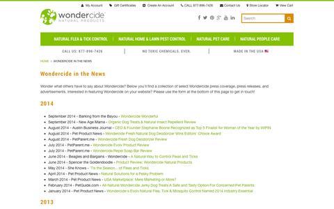 Screenshot of Press Page wondercide.com - Wondercide in the News - captured Oct. 26, 2014